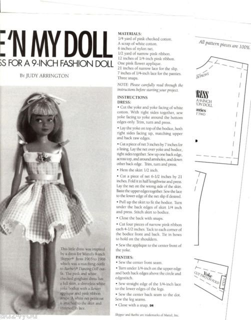 Magazine Pattern/Instructions to Sew Dress for 9\