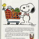 1992 Metropolitan Life Insurance Snoopy w/Groceries in Shopping Cart Ad Page~90s