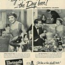 1954 Vintage Rheingold Beer Ad~Actress Claudette Colbert~1950s Print Ad Page