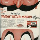 1955 Halloween Weeny Witch Masks Print Ad for Skinless Franks/Visking Corp.~50s