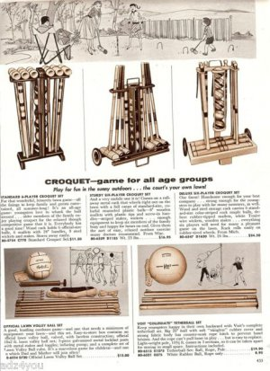 1958 Croquet Scene,Croquet,Lawn Volley Ball Set, Tetherball Set Catalog Ad Page