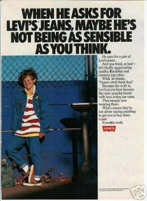 1980s Vintage Levi's/Levis Jeans Ad~Most Popular Brand