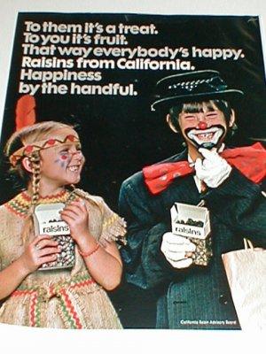 1975 Caifornia Raisins Fruit Treats for Halloween Print Ad~Indian etc Costume