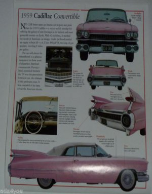 1959 Pink Cadillac Convertible American Dream Car Calendar Page w/Nice Pictures