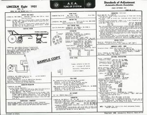 1962 A.E.A. Chevrolet Chevy CORVAIR Auto Tune-Up Chart '62