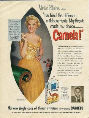 1951 Camel Cigarette Ad~Singing Star Vivian Blaine