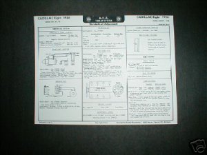 1961 Chevrolet CORVAIR Six Tune Up Chart '61