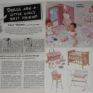 1950s A.C. TINY TEARS Doll/Accessories Catalog Ad~1957