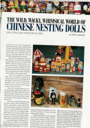 1995 Article/Pics/Info on Wild,Wacky,Whimsical World of CHINESE NESTING DOLLS