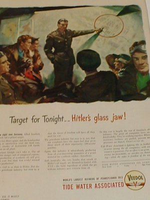 1943 WWII Wartime Veedol Hitler Oil Supply Ad Page~War of America's Oil Industry
