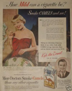 1950 Camel Cigarette Ad~TV/Singing Star Kyle MacDonnell