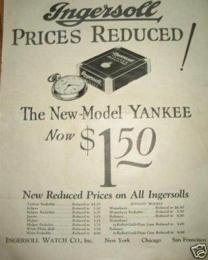 1926 Ingersoll Watch Ad~Yankee,Eclipse,Midget,Waterbury