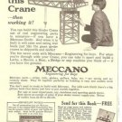 1920s Meccano Toy Building Set Ad~Girder Crane Pictured