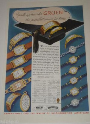 1937 Gruen Curvex Etc Watch Ad~Many pictured w/prices