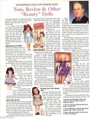 2001 Vintage Article/Information on Ideal Toni,Revlon Etc Advertising Dolls