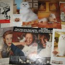 8 Cat Ads~Ad Lot Picturing White Cats~Puss'N Boots,Fancy Feast,Kal Kan,Revlon