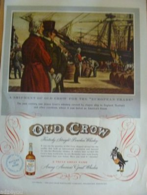 "1951 Whiskey Print Ad~Shipment of Old Crow for The ""European Trade~Frankfort KY"