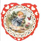 Vintage Whitney Made Valentine~Cute Girl with Butterfly Net,Turtle in Red Heart