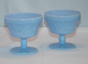 Set of 2 Delphite Blue Doric Pattern Sherbet Glass by Jeannette Glass Company