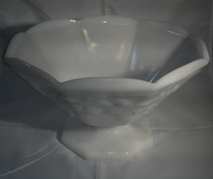 "Vintage White Milk Glass Octagon Shaped Bowl/Vase Grapes and Leaves Pattern 9"" Wide"