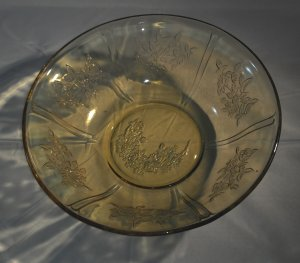 """Sharon Cabbage Rose Amber Yellow Depression Glass 8.5"""" Serving/Berry Bowl - Federal Glass"""