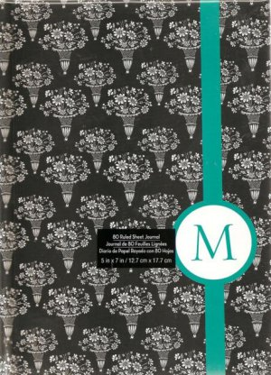 """NEW Lined Teal Stripe Bouquet """"M"""" Journal or Diary - Special Price!"""