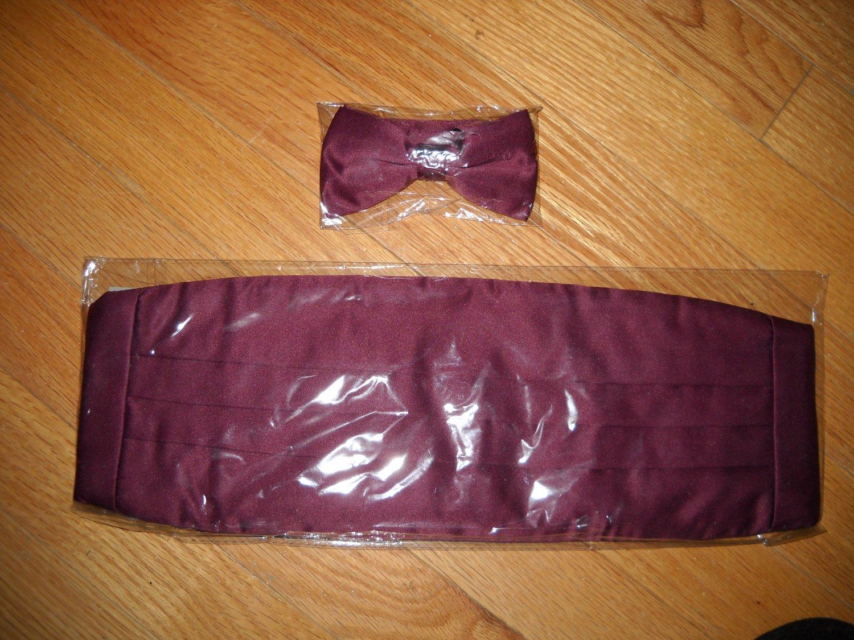 "Men's Burgundy Tuxedo Cummberbund, 2"" Matching Bow tie, 2 Cufflinks & 4 Shirt Studs"
