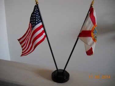 """USA & State of Florida Polyester 4""""x6"""" Office Desk Stick Flags With 2 Hole Weighted Base"""
