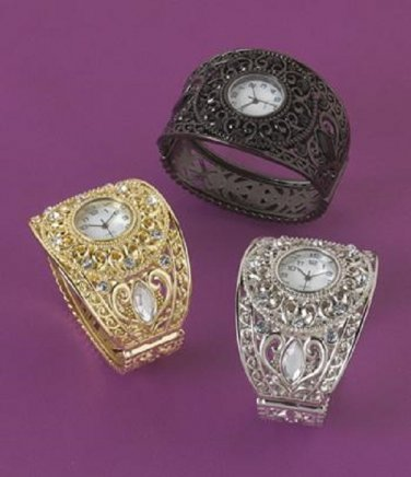 SCROLLWORK BANGLE WATCH AVAILABLE IN GOLDTONE ONLY