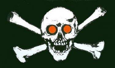 Jolly Roger Red Eyes Flag 3 x 5
