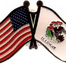 U.S. & STATE FLAG LAPEL PIN- Illinois