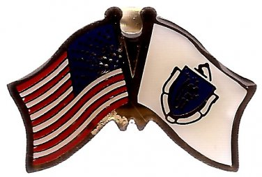 U.S. & STATE FLAG LAPEL PIN- Massachusetts