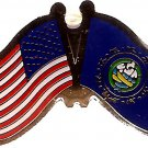 U.S. & STATE FLAG LAPEL PIN- New Hampshire