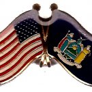 U.S. & STATE FLAG LAPEL PIN- New York