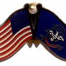 U.S. & STATE FLAG LAPEL PIN- North Dakota