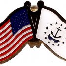U.S. & STATE FLAG LAPEL PIN- Rhode Island