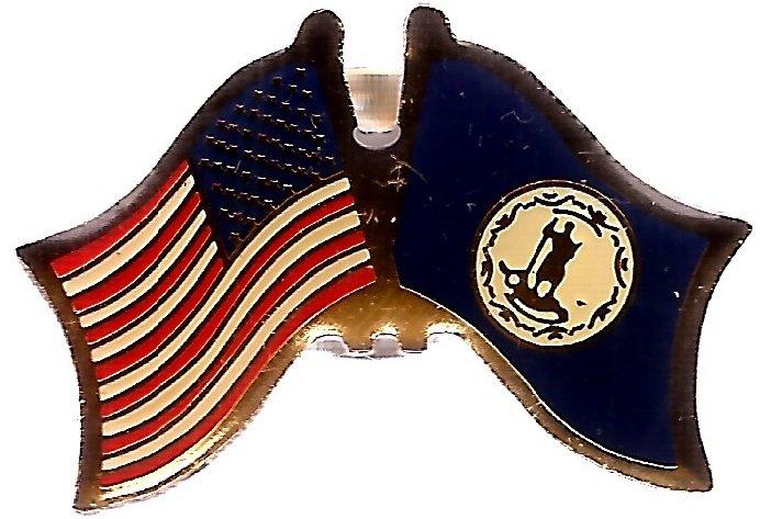 U.S. & STATE FLAG LAPEL PIN- Virginia