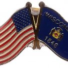 U.S. & STATE FLAG LAPEL PIN- Wisconsin
