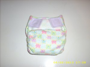 EUC Handmade small Girly Butterflies AIO Flannel Cloth Diaper