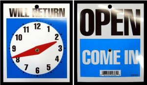 Open Come In / Will Return / Store Business Clock Hands Sign With Chain.