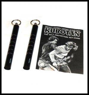 TWO (2) Kubotan Self Defense Protection Key Chain Ring Kubaton w/ Instructions.