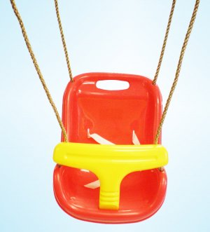Secure Baby Infant Toddler Swing Seat Snug Fit High Back 6 - 48 Months RED