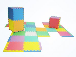 "NEW 36 Thick Rainbow Foam Interlocking Puzzle Play Mat w/ Edges & Borders 12""x12"