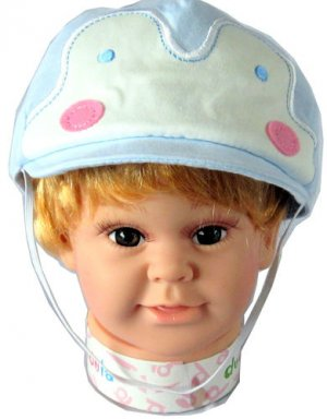 Dudula Pastel Penguin Baby and Toddler Cap w/ Strap in Lt blue 6 mnths ~ 2 yrs