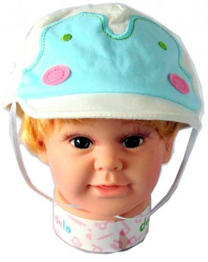 Dudula Pastel Penguin Baby and Toddler Cap w/ Strap in Turquoise 6 mnths ~ 2 yrs