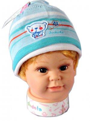 Dudula Honey Bear Crochet Beanie in BABY BLUE-Fits 6 mnths~ 12 months
