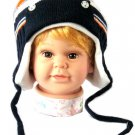 Dudula Baby Striped Bear Button Knit Beanie With Strap in Navy/Orange 18~36 mon