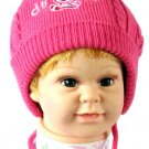Dudula Puppy Knit Crochet Beanie with Tie String Hot Pink-Fits 6- 18months