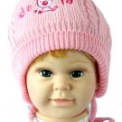 Dudula Puppy Knit Crochet Beanie with Tie String Pink-Fits 6- 18months