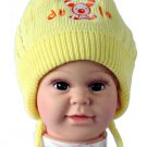 Dudula Puppy Knit Crochet Beanie with Tie String Yellow-Fits 6- 18months